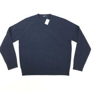 J. CREW L Large Sweater Raglan Crewneck Blue Wool